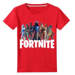 T Shirt med Fortnite Tryck Röd Fäger Storlekar 130-150 för Barn Red Röd 140
