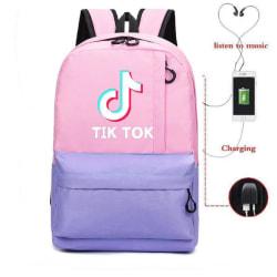 TIK TOK Ryggsäck - vattentät skolväska med USB och Hörlursuttag Rosa