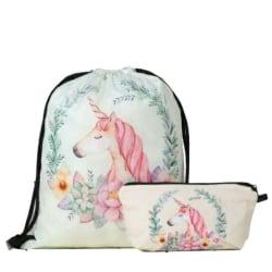 Unicorn Gympapåsar- Skor Väskor- Gympapåse-Skoväska-Skopåse Vit