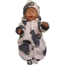 Nallemönstrad fleeceoverall till Baby Born Nallemönstrad