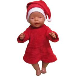 Tomteklänning i röd velour till Baby Born röd