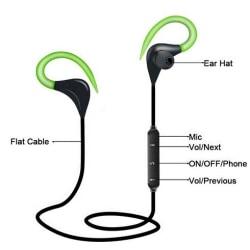 grön sport trådlösa hörlurar