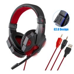 Professionell Gamer Headset för Dator och PS4 röd röd