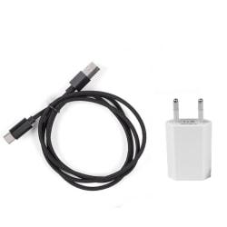 USB C 3.1 laddkabel (3M) Nylonflätad + Universell 1A Väggladdare