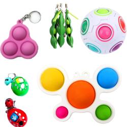 8 stycken prylar och fidget leksaker Pop It, stressboll, etc.