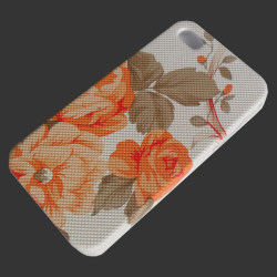Skal iPhone 4 / 4S vit / orange blommor