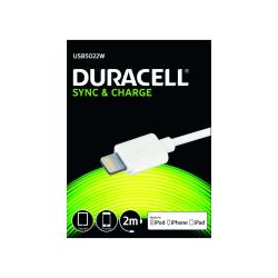 Duracell 5022 USB til Lightning Kabel, 2 meter Vit