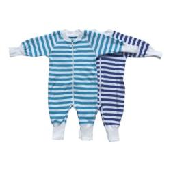 Babypyjamas Zipper 2-pack Blå/vit (stora i storlekarna)
