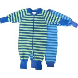 Babypyjamas Zipper - 2-pack Randiga blå 50cl (stora storlekar) Blå