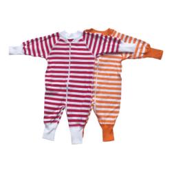 Babypyjamas Zipper - 2-pack Randiga vit/röd/orange 50cl röd/vit/orange