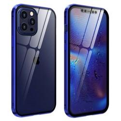 iPhone 12 Pro Max Magnetiskt Skal med Härdat Glas - Blå Blå
