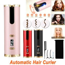 Auto Hair Curler Rotating Cordless Ceramic Hair Waver Curling black
