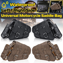 PU läder vänster / höger sidväska sadelväska med flaskhållare