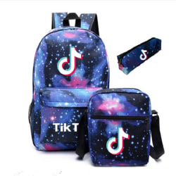 Tik Tok Bag Set(Satchel&Backpack&Pen Bag) USB Charging Backpack Black Only a Backpack