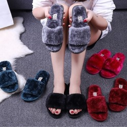 Women Fur Fuzzy Slippers Open Toe Flat Shoes sapphire 41-42