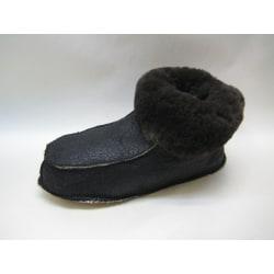 Fårskinnstofflor med läder sula svart 36-37