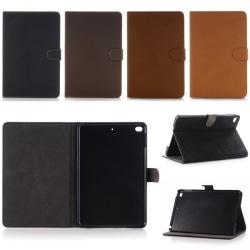 Fodral Mocka/Läder iPad Mini 5 (2019) - Retro, 4 Färger Mörkbrun