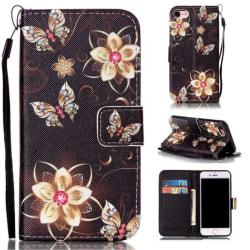 Plånboksfodral Apple iPhone 7 – Blommor i Guld