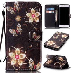Plånboksfodral Apple iPhone 8 Plus – Blommor i Guld