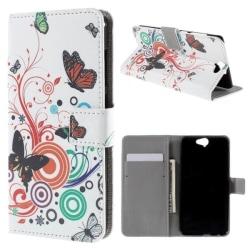 Plånboksfodral HTC One A9 - Vit med Fjärilar