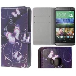 Plånboksfodral HTC One (M9) - Lila med Fjärilar