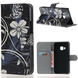 Plånboksfodral HTC One (M9) – Svart med Blommor