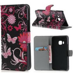 Plånboksfodral HTC One (M9) - Svart med Fjärilar