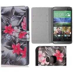 Plånboksfodral HTC One (M9) – Svartvit med Blommor