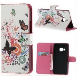 Plånboksfodral HTC One (M9) - Vit med Fjärilar