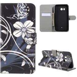 Plånboksfodral HTC U11 – Svart med Blommor