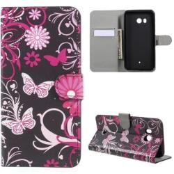 Plånboksfodral HTC U11 - Svart med Fjärilar