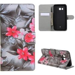 Plånboksfodral HTC U11 – Svartvit med Blommor