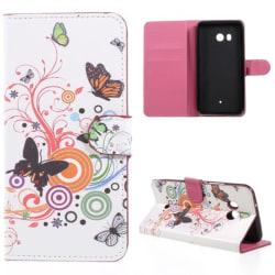 Plånboksfodral HTC U11 - Vit med Fjärilar