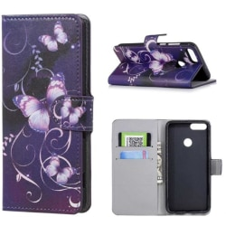 Plånboksfodral Huawei P Smart (2018) - Lila med Fjärilar