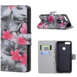 Plånboksfodral Huawei P Smart - Svartvit med Blommor