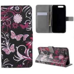 Plånboksfodral Huawei P10 Plus - Svart med Fjärilar