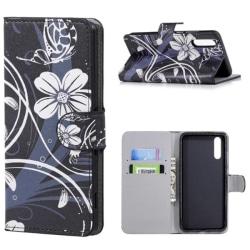 Plånboksfodral Huawei P20 – Svart med Blommor