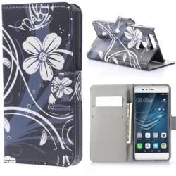 Plånboksfodral Huawei P9 – Svart med Blommor