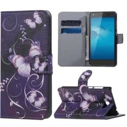 Plånboksfodral Huawei Y5 II – Lila med Fjärilar