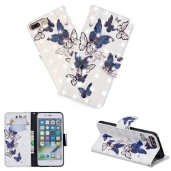 Plånboksfodral iPhone 7 Plus – Blåa och Vita Fjärilar