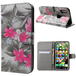 Plånboksfodral iPhone X / iPhone Xs - Svartvit med Blommor