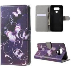 Plånboksfodral LG G6 – Lila med Fjärilar