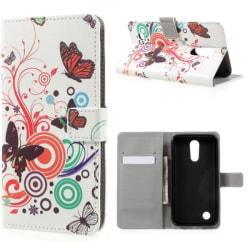 Plånboksfodral LG K10 2017 - Vit med Fjärilar