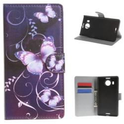 Plånboksfodral Microsoft Lumia 950 XL – Lila med Fjärilar