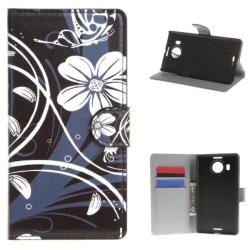 Plånboksfodral Microsoft Lumia 950 XL – Svart med Blommor