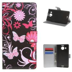 Plånboksfodral Microsoft Lumia 950 XL - Svart med Fjärilar