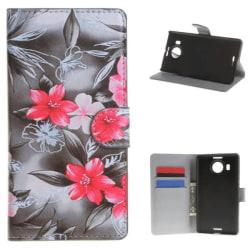 Plånboksfodral Microsoft Lumia 950 XL – Svartvit med Blommor