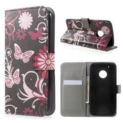 Plånboksfodral Moto G5 Plus - Svart med Fjärilar
