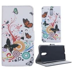 Plånboksfodral Motorola Moto G4 & G4 Plus - Vit med Fjärilar