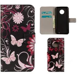 Plånboksfodral Motorola Moto G6 Plus - Svart med Fjärilar